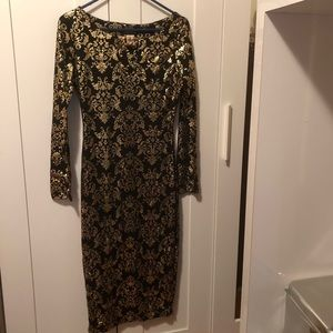 Black and Metallic Gold Damask dress size medium